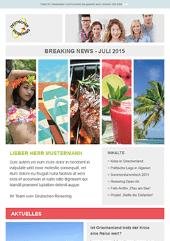 exemple newsletter Tourisme
